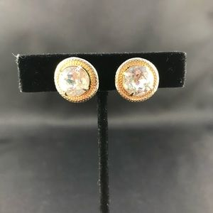 Vintage clear rhinestone clip earrings